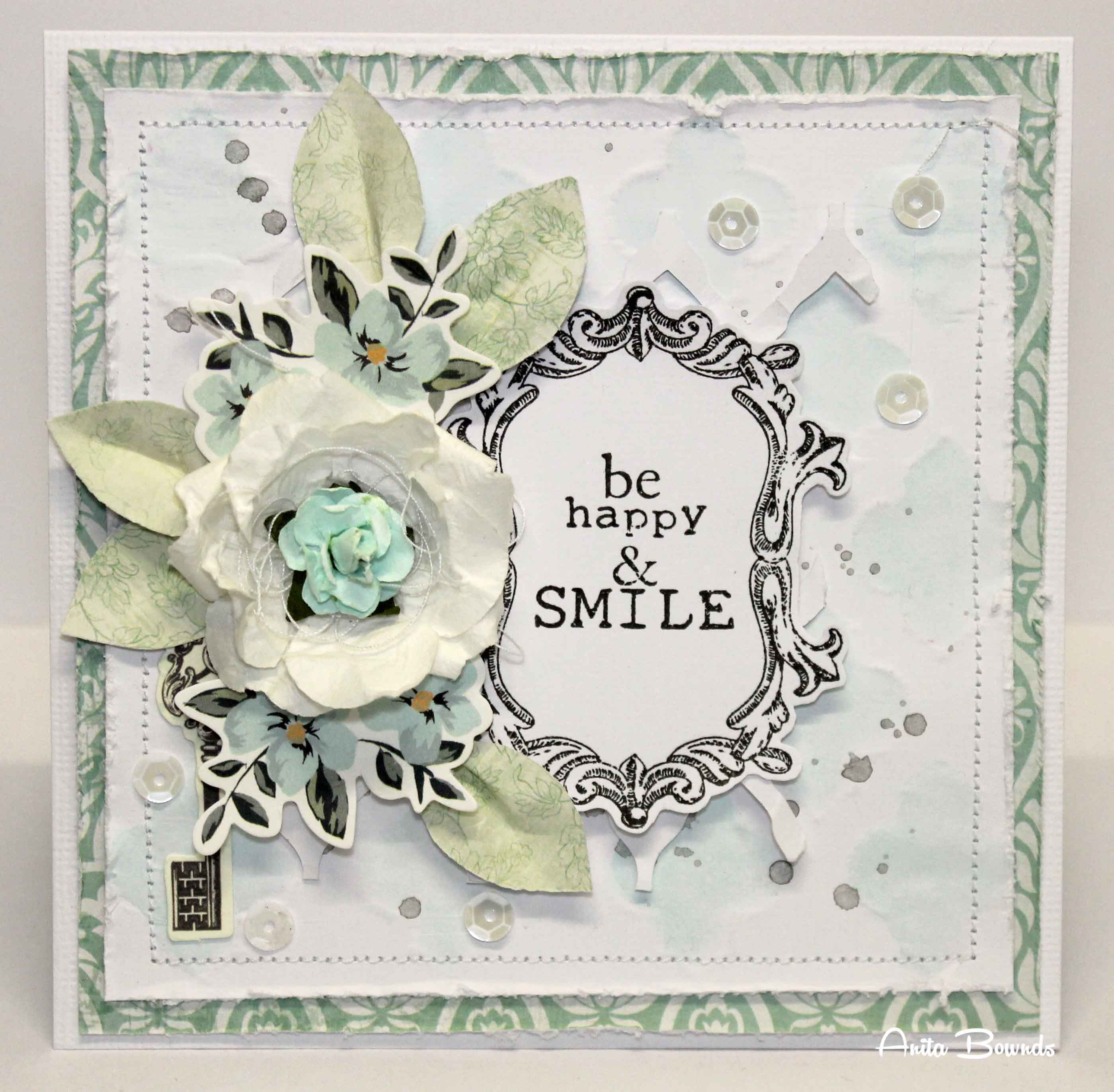 Be Happy & smile card - Anita Bownds may 2014 Scrapfx Dt