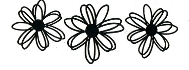 Daisy Flowers BLACK - Click Image to Close